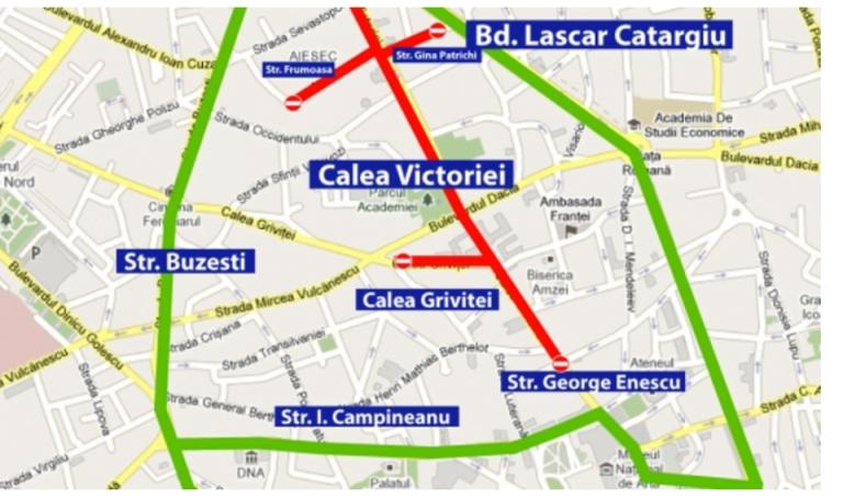 """""""La pas pe Calea Victoriei"""". Restrictii majore de trafic in Bucuresti!"""