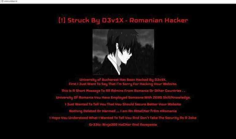 Site-ul Universitatii Bucuresti a fost spart de hackeri: Ati angajat pe cineva care nu are competente!