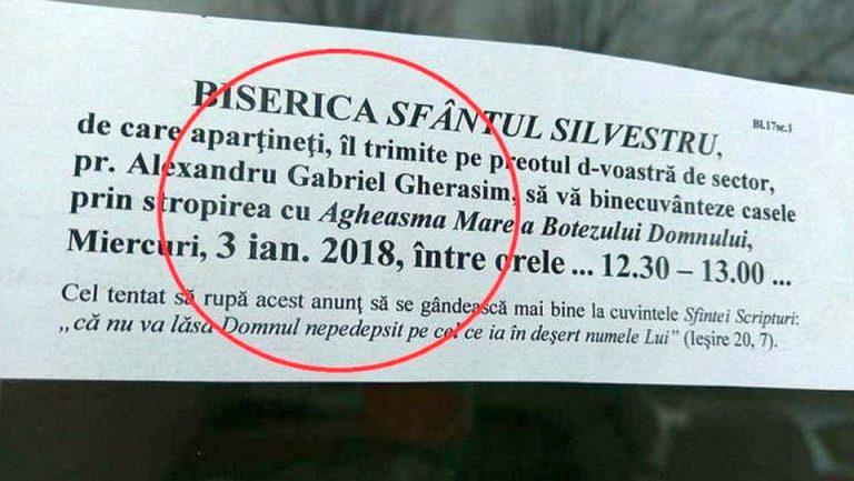 """Un preot din Bucuresti isi ameninta enoriasii cu """"mania divina"""" de Boboteaza!"""