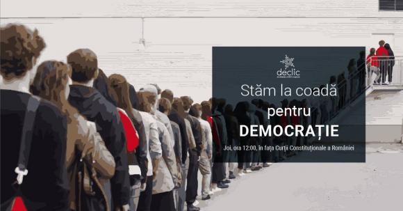 Protest neobisnuit in Bucuresti: Stam la coada pentru democratie!
