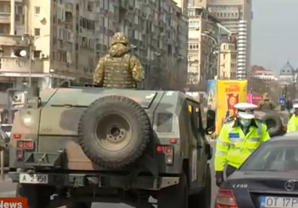 VIDEO-Armata a iesit pe strazile Bucurestiului! Romania a intrat in carantina